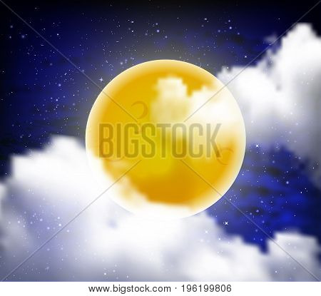 Bright yellow full moon, vector art illustration.