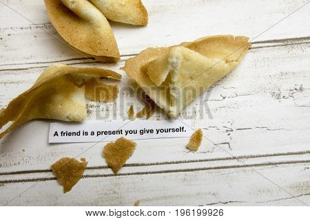 Chinese fortune cookies with inspirational message paper.