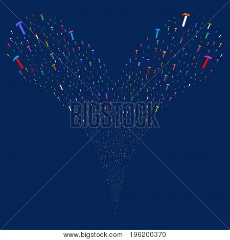Hammer source stream. Vector illustration style is flat bright multicolored iconic hammer symbols on a blue background. Object fountain done from random pictographs.