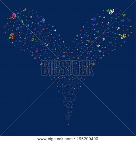 Hearing fireworks stream. Vector illustration style is flat bright multicolored iconic hearing symbols on a blue background. Object fountain created from random symbols.