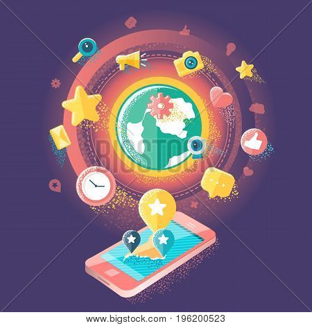 Flat illustration of social media, social networking, mobile app, sharing, communication, and social commerce