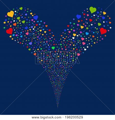 Heart fireworks stream. Vector illustration style is flat bright multicolored iconic heart symbols on a blue background. Object fountain organized from random design elements.