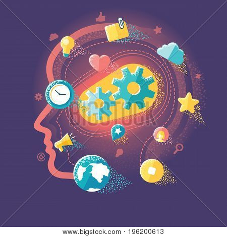 Flat illustration of ideas and creative concepts in social media, social networking, mobile app and startup