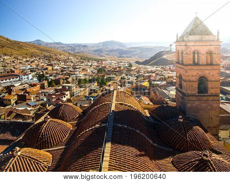 Accessible rooftop with bell tower of San Francisco Convent, Potosi, Bolivia, South America.