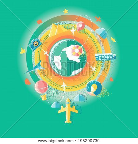 Flat illustration of travel, social media and social networking, mobile app, sharing and communication