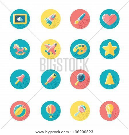 Kids toys and object vecor icons set.