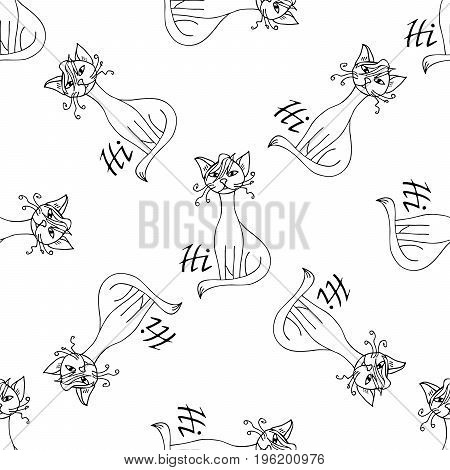 Comic cat says Hi pattern hand drawn. Object isolated on white.