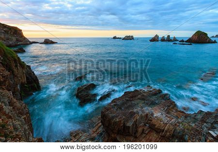 Gueirua Beach At Evening. Asturias, Spain.