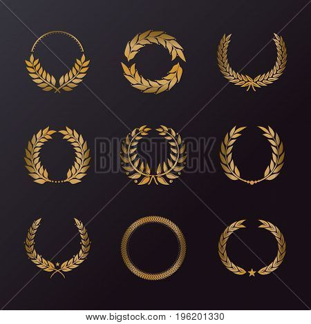 Laurel wreath icons with different shapes. Symbol for floral decoration of winner award or trophy, success heraldry and champion frame, triumph emblem. Competition and glory, heraldic and leaf theme