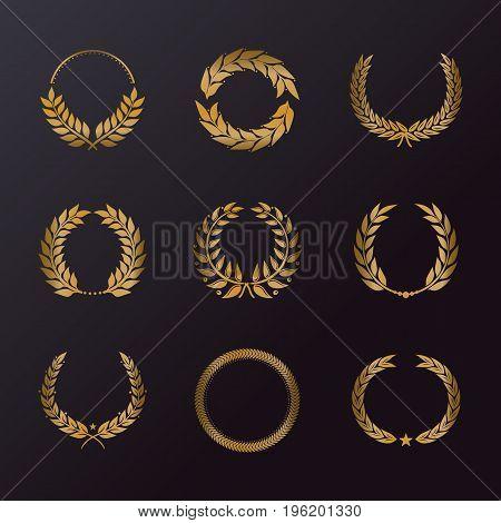 Laurel Wreath Icons Vector Photo Free Trial Bigstock