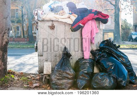 Garbage in the city. Novi Sad, Serbia. Litter.