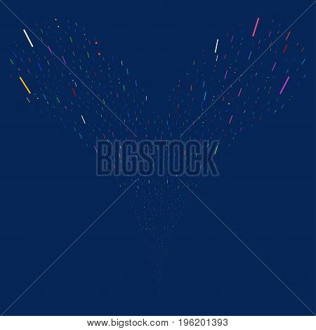 Lines And Dots fireworks stream. Vector illustration style is flat bright multicolored iconic lines and dots symbols on a blue background. Object fountain constructed from random pictographs.