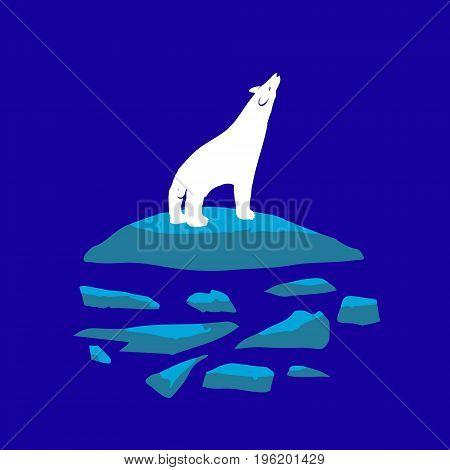 White polar bear night on the ice. Wildlife romance and loneliness. Sweetheart vector illustration.