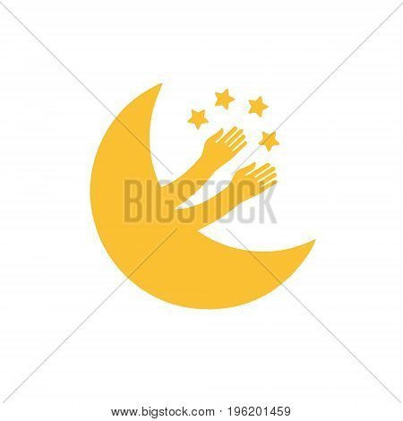 New moon plays with the stars. Moon vector icon original vector illustration with a large range of applications