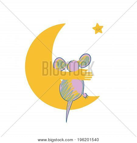 Little mouse on the moon. Cute vector illustration with child theme. Original vector illustration with a wide range of applications.