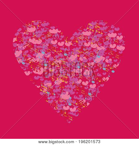 Template Valentine greeting cards. Heart background of musical notes and little hearts. The musical notes in the shape of a heart. Heart made of musical notes. Doodle Hearts. Valentine's day cards.