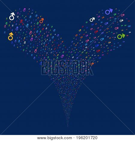 Mars Symbol source stream. Vector illustration style is flat bright multicolored iconic mars symbol symbols on a blue background. Object fountain done from random pictographs.
