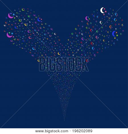 Moon Stars fireworks stream. Vector illustration style is flat bright multicolored iconic moon stars symbols on a blue background. Object fountain constructed from random pictographs.