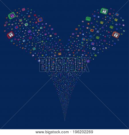 Newspaper source stream. Vector illustration style is flat bright multicolored iconic newspaper symbols on a blue background. Object fountain constructed from random icons.