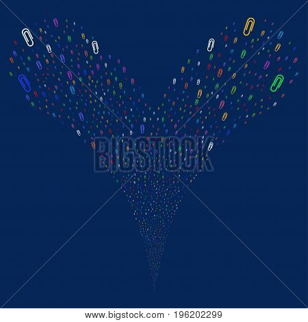 Paperclip explosive stream. Vector illustration style is flat bright multicolored iconic paperclip symbols on a blue background. Object fountain created from random pictographs.