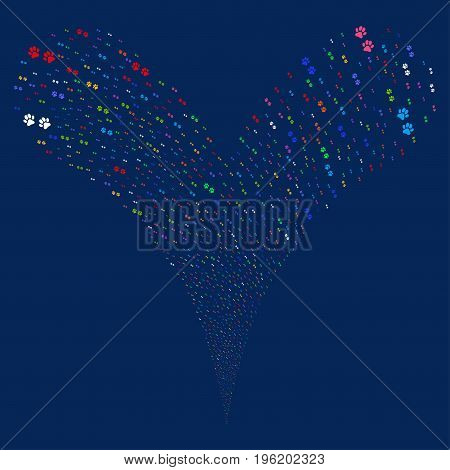 Paw Footprints fireworks stream. Vector illustration style is flat bright multicolored iconic paw footprints symbols on a blue background. Object fountain created from random design elements.