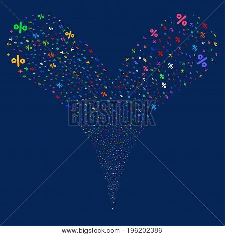 Percent salute stream. Vector illustration style is flat bright multicolored iconic percent symbols on a blue background. Object fountain constructed from random design elements.
