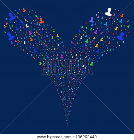 Person source stream. Vector illustration style is flat bright multicolored iconic person symbols on a blue background. Object fountain done from random pictographs.