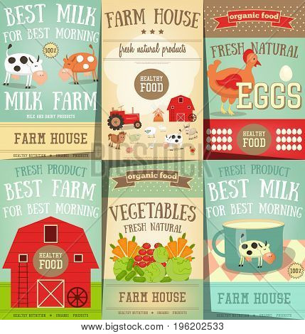 Farm Food and Agriculture Posters Set. Healthy Organic Products. Milk Dairy Farm. Vector Illustration.