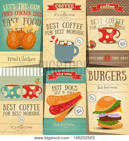 Fast Food and Coffee Posters Set - Burgers Hot Dogs and Drinks on Retro Placards. Vintage Design. Vector Illustration.