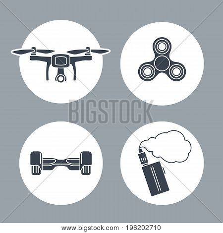 Set icon inside of round with Hoverboard Drone Spinner Vape. Vector flat simple black illustration on white background.