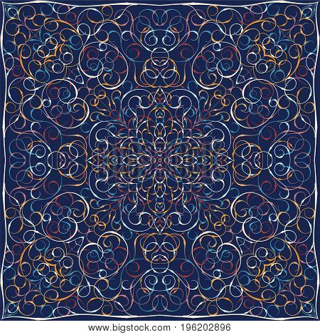 Square pattern on a blue background. Decorative ornament to the handkerchief. Vector illustration.