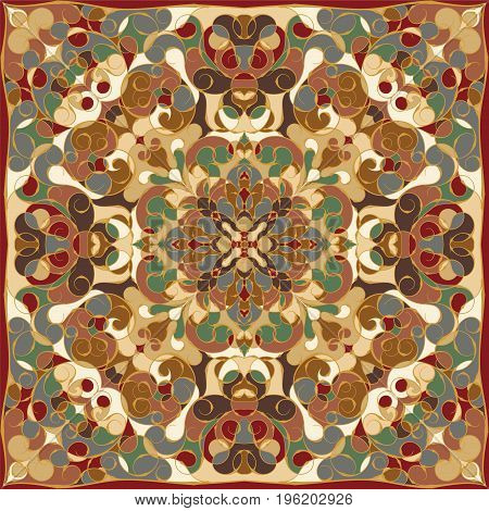 Rich striking pattern for a scarf. Square ornament in Oriental style. Vector illustration.