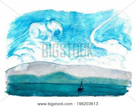 Daydream. Cloud elephants. Fantasy landscape with sea and sky. Marine art. Watercolor hand drawn illustration.