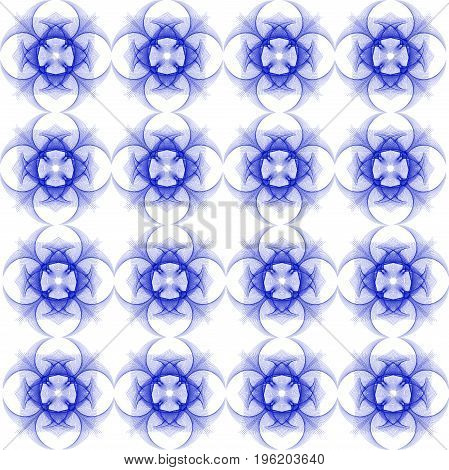 geometric repeating pattern of thin lines of dark blue on an isolated white background