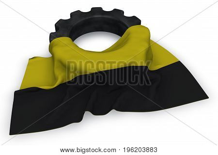 gear wheel and flag of saxony-anhalt - 3d rendering