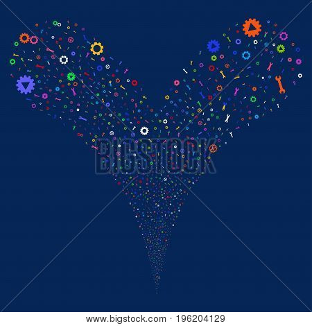 Setup Tools fireworks stream. Vector illustration style is flat bright multicolored iconic setup tools symbols on a blue background. Object fountain combined from random pictograms.
