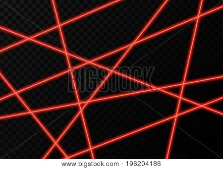 Red Laser Beams With  Flashes Of  Lights  On Black  Background.