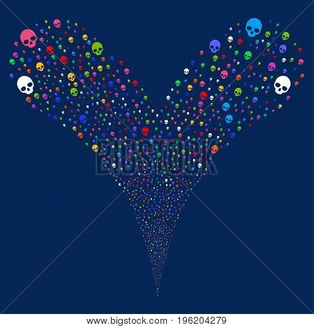Skull source stream. Vector illustration style is flat bright multicolored iconic skull symbols on a blue background. Object fountain organized from random pictograms.