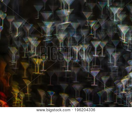 Beautiful Background With Different Colored Cocktail, Abstract Background, Martini Glass Shapes On B