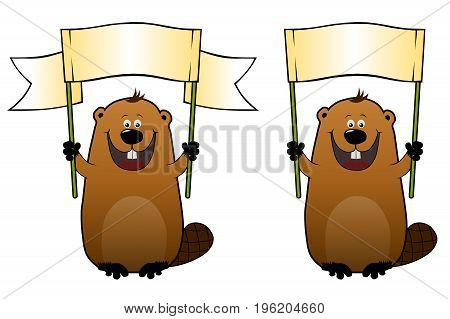 Funny cartoon beavers with blank gradient banner in his hands