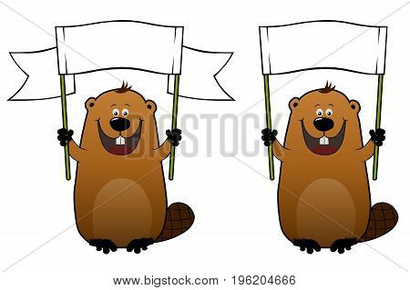 Funny cartoon beaver with blank white banner in his hands