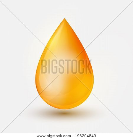 Realistic yellow  oil drop  on white background. Vector illustration