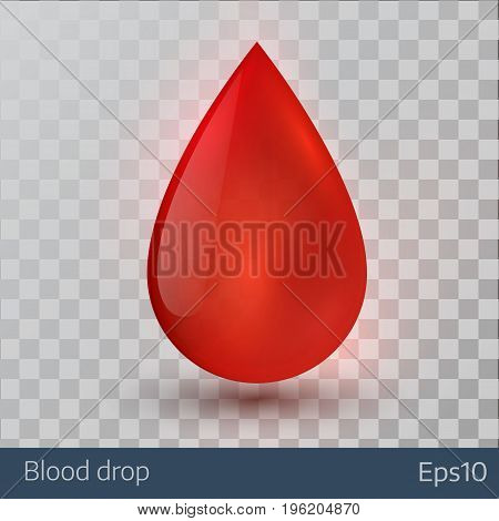 Single blood drop isolated on transparent background. Vector illustration.