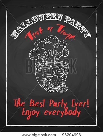 Halloween holiday chalk poster for party. Textured blackboard and witch accessories, pot with potion and hat. Trick or threat. Template for advertising design.