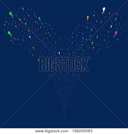 Spermatozoon fireworks stream. Vector illustration style is flat bright multicolored iconic spermatozoon symbols on a blue background. Object fountain done from random symbols.