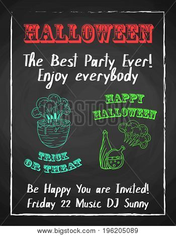 Halloween holiday chalk poster for night party. Textured blackboard and witch accessories. Template for advertising design.