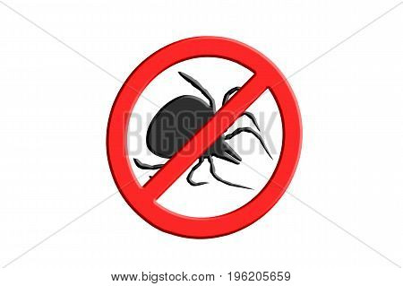 Tick symbol crossed out on red warning sign symbolic for tick Free zone