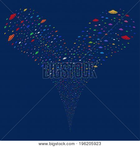 UFO fireworks stream. Vector illustration style is flat bright multicolored iconic UFO symbols on a blue background. Object fountain created from random pictograms.