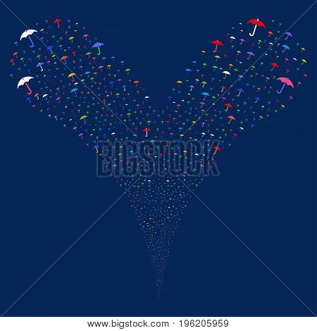 Umbrella fireworks stream. Vector illustration style is flat bright multicolored iconic umbrella symbols on a blue background. Object fountain organized from random symbols.