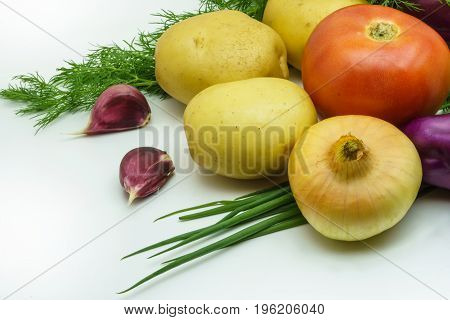 Assortment of fresh raw vegetables isolated on white background. Selection includes potato tomato green onion garlic and dill